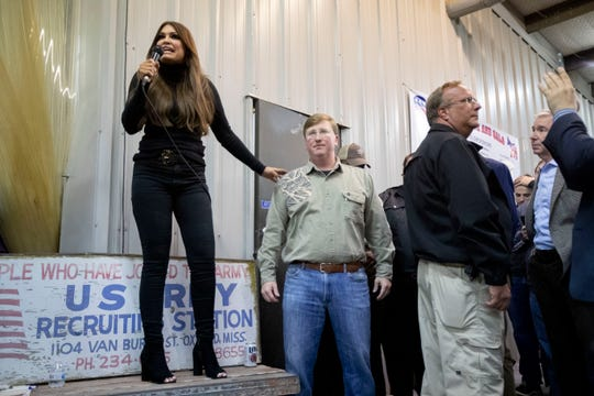 Kimberly Guilfoyle rallies support for Lt. Gov. and republican gubernatorial candidate Tate Reeves on Thursday, Oct. 24, 2019, during Good Ole Boys and Gals at Johnny Morgan's Shop in Oxford.
