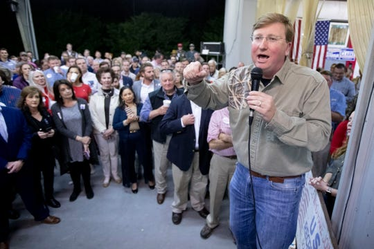 Lt. Gov. and republican gubernatorial candidate Tate Reeves speaks Thursday, Oct. 24, 2019, during Good Ole Boys and Gals at Johnny Morgan's Shop in Oxford.