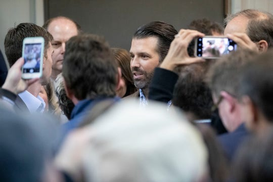 The crowd takes pictures of Donald Trump Jr. on Thursday, Oct. 24, 2019, during Good Ole Boys and Gals at Johnny Morgan's Shop in Oxford.