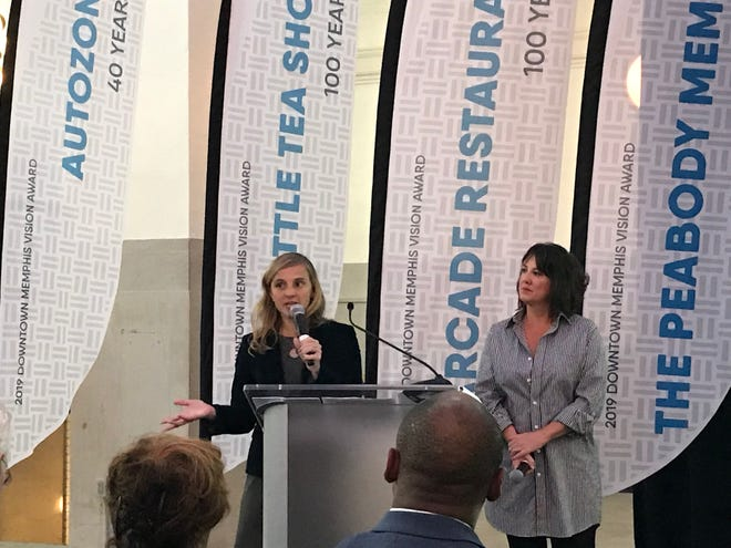 Downtown Memphis Commission President Jennifer Oswalt and Board Chairwoman Deni Reilly host the State of Downtown award ceremony to celebrate $4 billion in Downtown investment.