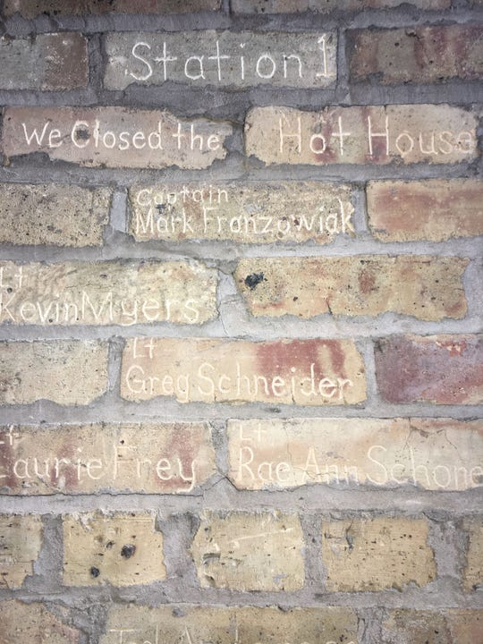 When the Menomonee Falls fire station closed in 2015 closed, Tony Meyer,  a firefighter, chiseled the names of firefighters into the bricks. The wall will be a part of the Hot House Tavern's decor near the banquet hall.