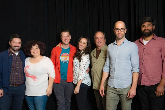 "Director JC Clementz with ""The Nerd"" 2019 cast members Lillian Castillo, Michael Doherty, Alex Keiper, Chris Mixon, Jeremy Peter Johnson and Andy Nagraj."