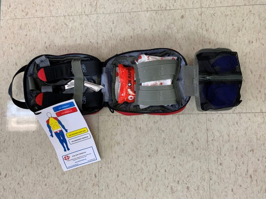A nearly $30,000 donation from the Pewaukee Fire and Police departments and the nonprofit Positively Pewaukee helped put these Stop the Bleed trauma kits in classrooms throughout the Pewaukee School District.