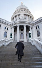 UW System President Ray Cross arrives at the state Capitol to lobby legislators about funding  Feb. 18, 2015.