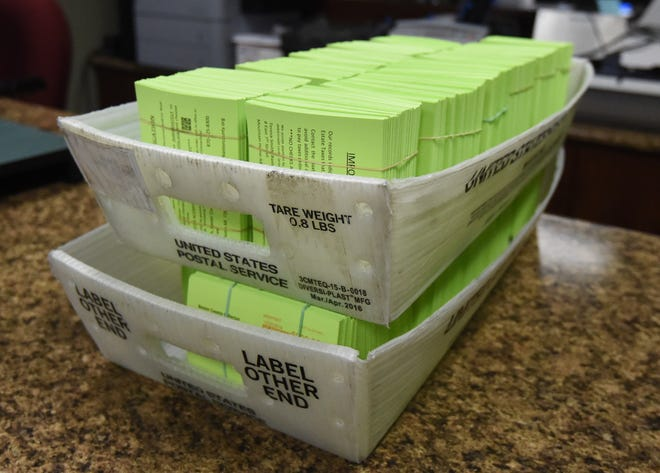 Stacks of overdue tax notices sit bundled in two mail trays Friday afternoon in the Baxter County Collector's Office. The notices were mailed out Friday to property owners that had yet to pay their 2018 property taxes. Oct. 15 was the deadline to pay property taxes and avoid a late-payment penalty.