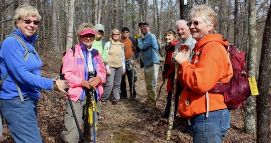This group of volunteers from the North Central Arkansas Master Naturalists take time out to hike for fun along a section of the Ozark Highland Trail in south Baxter County/