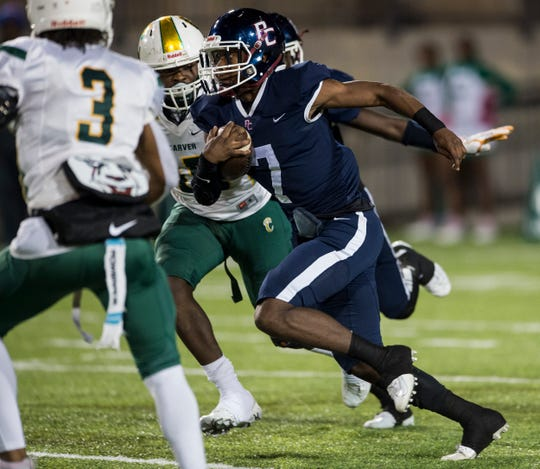 Park Crossing's Trevor Robinson (7) runs the ball at Cramton Bowl in Montgomery, Ala., on Thursday, Oct. 24, 2019. Park Crossing leads Carver 24-6 at halftime.