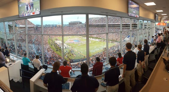 A view of Jordan-Hare Stadium from the press box.