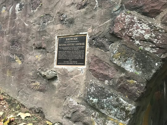 National Historic Landmark Designation sign on the entrance to Radburn tunnel