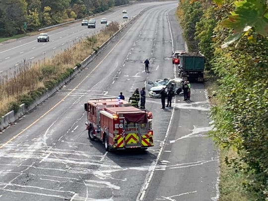 Authorities investigating a serious accident on Route 19 south in Paterson on Friday, Oct. 25, 2019.