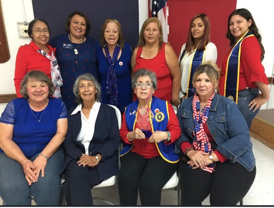 Seated are Auxiliary Members Jean Florian; Rachel Perkins; Irene R. Banegas and Sylvia Guzman.  Standing are members Alejandra Sadler, Patricia Torres, Lori Dominguez, Debbie Wright and Girls Staters Nichole Cardenas and Allyssa Wright.