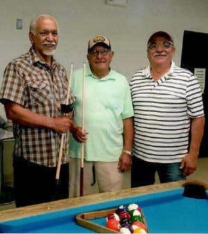Pictured from Left to right are the September 2019 eight-ball billiard's tournament winners: Henry Telles, first place, Florencio Avitia, second place and  Teddy Sedillo, third place.