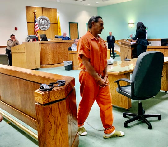 Las Cruces resident Daniel Tena, 57, attends his pre-trial detention hearing in Third Judicial District Court on Friday, Oct. 25, 2019. Judge Douglas Driggers, handed down a $10,000 secured bond to Tena.