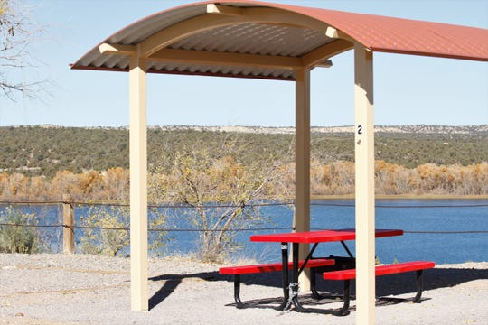 The City of Farmington added shade structures, like this one pictured Friday, Oct. 25, 2019, at Lake Farmington's campground this year.
