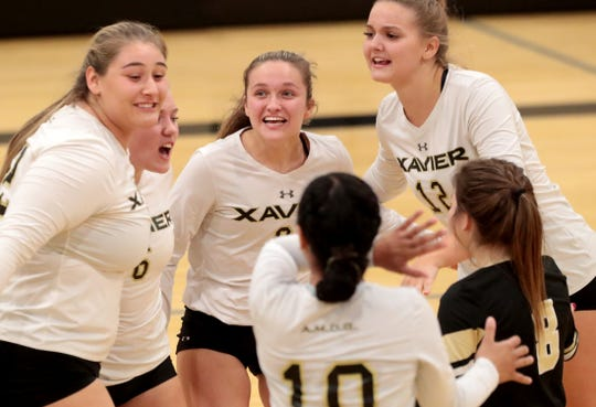 Xavier Prep players react during their win against Oak Hills in the first round of the CIF-SS playoffs in Palm Desert, Calif., on Thursday, October 24, 2019.