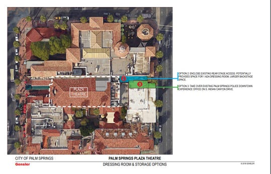 Renovation plans for the Plaza Theatre could involve enclosing a small alleyway in the back of the theater or taking over a police office on South Indian Canyon Drive that backs up against the theater.