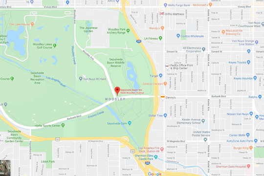 An approximate location of where the Sepulveda Basin fire began on Oct. 24.