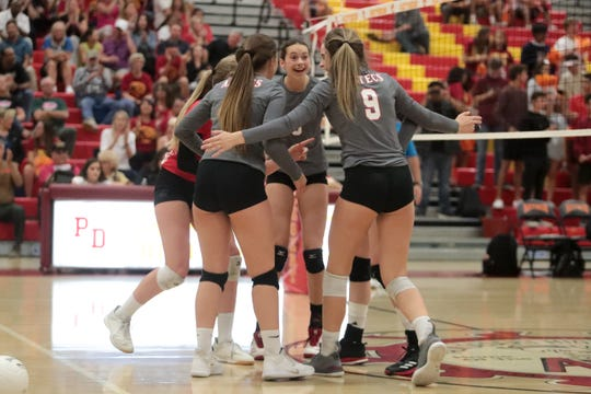 Palm Desert celebrates a point in the first round of the CIF-SS playoffs on Thursday, October 24, 2019 in Palm Desert, Calif.