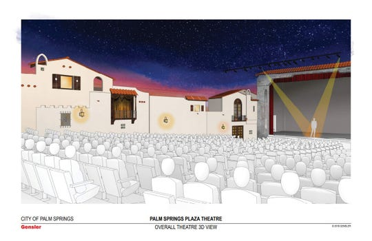 The Plaza is an atmospheric theatre with a Spanish-style village scene along its walls. Renovation plans from Gensler would recreate the theatre's original starfield ceiling.