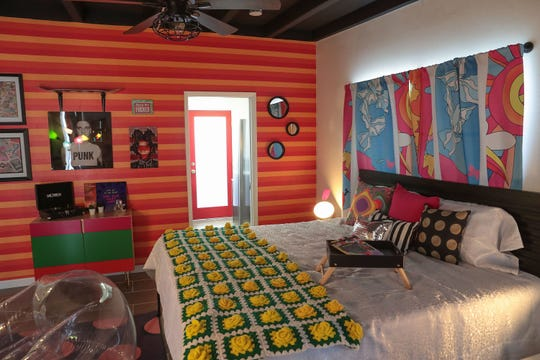 Colorful decor adorns the inside of a room at the Art Hotel in Palm Springs, October 24, 2019.