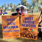 Desert Sun Executive Editor Julie Makinen at the 2019 Desert AIDS Walk with Sandie Newton of NBC Palm Springs.