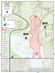 The perimeter of the Old Water Fire north of San Bernardino, which stood at 145 acres Friday morning, Oct. 25, 2019. It was 55% contained, officials said