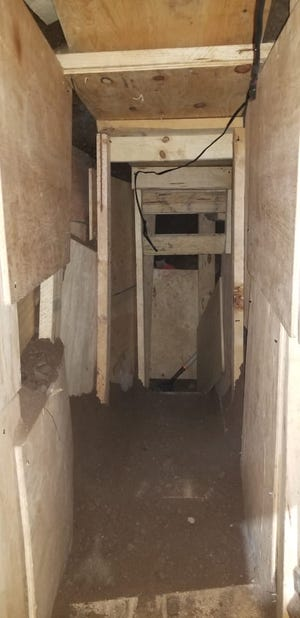 The drug tunnel U.S. border agents discovered in Nogales on Oct. 24, 2019, was unfinished but was covered in plywood sheets, and had construction tools and electrical wiring still inside.