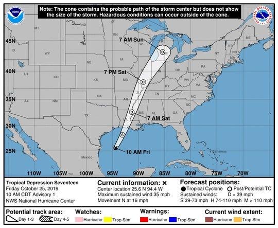 Fotografía cedida por el Centro Nacional de Huracanes (NHC) de Estados Unidos donde se muestra el recorrido de tres días de la depresión tropical número 17.