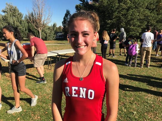 Reno junior Penelope Smerdon won the High Desert League girls cross country race in Friday.