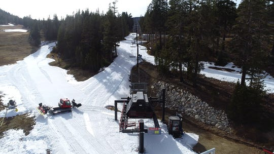 An aerial shot of Mt. Rose Ski Tahoe's Wizard chairlift, which opened for skiing on Oct. 25.