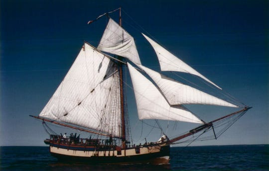 The Providence rounds Charlotte pier on its way to harbor as part of the Rochester Harbor and Carousel Festival.