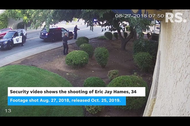 The video may not be suitable for all viewers. It shows the 2018 shooting of Eric Jay Hames in Redding.