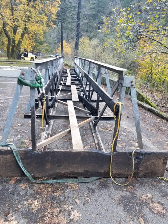 The damaged High Bridge was removed from the Eagle Creek Trail.