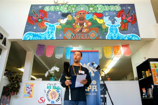MILPA Executive Director Juan Gomez makes a statement at the organization's Oldtown office Oct. 24, 2019.