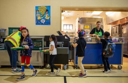 Monte Bella students line up to get their school lunch on Thursday, Oct. 24, 2019.