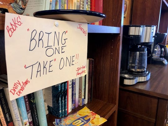Take a Break has a section of books and coffee. Customers can bring in a book of their own and exchange it for one in the store.