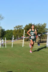 Cornerstone Christian School's Lesli Salas runs to victory in the Class 1A girls division at the TAPPS Cross Country Championships Oct. 21, 2019, in Waco, Texas.