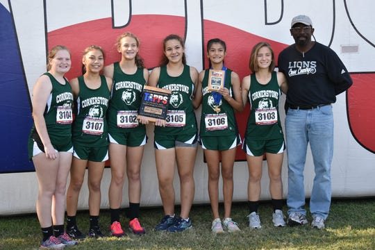 The Cornerstone Christian School girls cross country team as led by head coach Gary Gabriel (right) finished second at the TAPPS Class 1A State Cross Country Championships Oct. 21, 2019, in Waco, Texas.