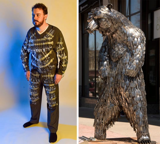 Trevor Mitchell (left) wears a Halloween costume inspired by the SculptureWalk People's Choice award winner Bear Lee, Standing.