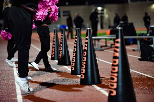 Washington cheerleaders perform on Thursday, October 24, at Howard Wood Field in Sioux Falls.