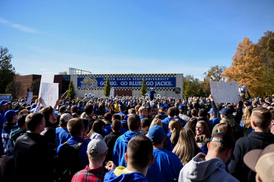 Crowds gather for the GameDay live taping on Friday, Oct. 25, 2019 at SDSU in Brookings, S.D.