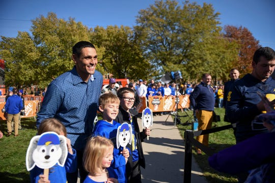 David Pollack takes a photo with fans after GameDay live is taped on Friday, Oct. 25, 2019 at SDSU in Brookings, S.D.