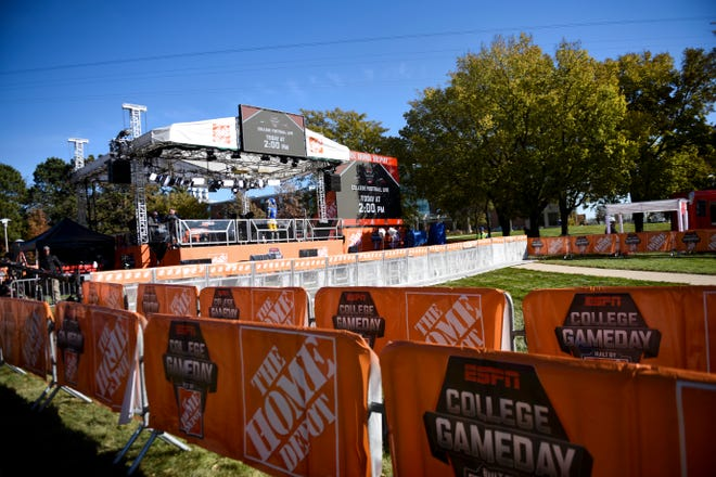 The GameDay stage is set up on Friday, Oct. 25, 2019 at SDSU in Brookings, S.D.