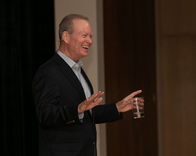 Mick Cornett speaks to officials and members of the public as part of the city's effort to plan the future through 2040.