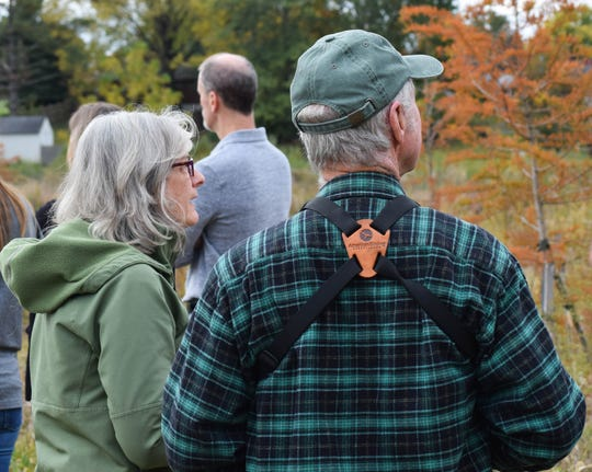Betty Gatewood (left) and Mark Gatewood take in the view of Mulberry Run Wetlands on Oct. 25, 2019. The Gatewoods have visited several times to bird watch and enjoy the passive park, Betty Gatewood said.