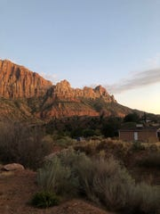 A view of Zion National Park from next to Springdale Town Hall and Zion Canyon Mesa.
