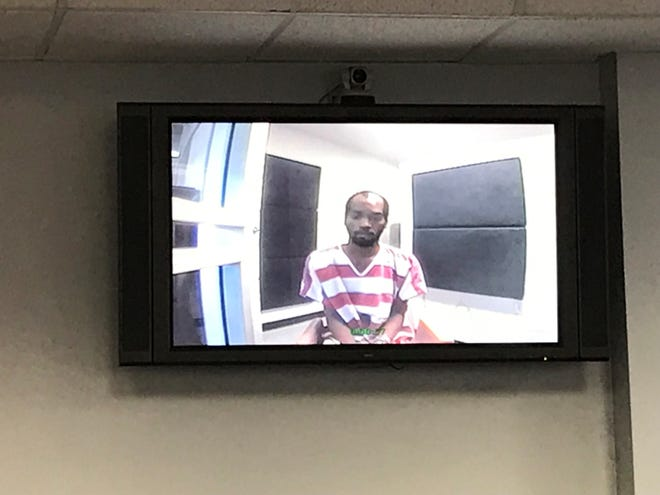 Mia Williams attends a first appearance via closed circuit TV at the Leon County Courthouse on Friday, Oct. 25, 2019.