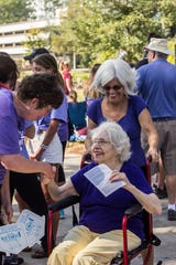Families show up for the Forget Me Not walk to benefit the Alzheimer's Association in 2017.