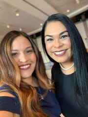 Parkland Middle School teacher Michelle Sandoval, left, and Parkland principal Angela Reyna at the 2020 Texas Teacher of the Year awards in Austin on Oct. 25, 2019.