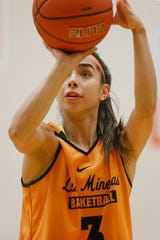 UTEP's Katia Gallegos during practice Thursday, Oct. 24, at the Foster Stevens Center at UTEP in El Paso.